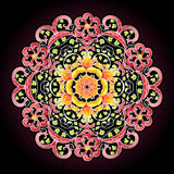 Round lace mandala pattern. Round lace pattern in brown and red colors Royalty Free Illustration