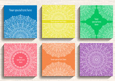 Round Lace Ornament Cards Set Royalty Free Stock Image