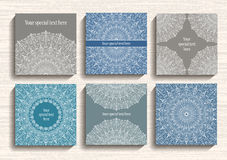 Round Lace Ornament Cards Set Royalty Free Stock Photos