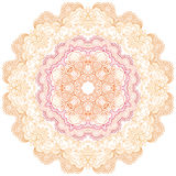 Round lace ornament isolated on white. Stock Photos