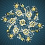 Round lace pattern with flowers and leaves Royalty Free Stock Image