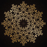 Round lace pattern in gold Royalty Free Stock Image