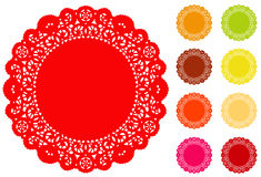 Lace Doily Placemats, 9 Bright colors, Round stock illustration