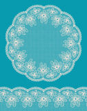 Round lacy frame with lacy bottom border. Royalty Free Stock Photos