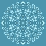 Round lacy vintage pattern on blue background Stock Image