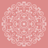 Round lacy white pattern on pink background Royalty Free Stock Images