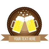Round Lager Beer Pints Badge Flat Style vector illustration