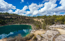 Round lake crater in palancares, Cuenca Stock Photography