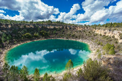 Round lake in palancares, Cuenca Royalty Free Stock Images