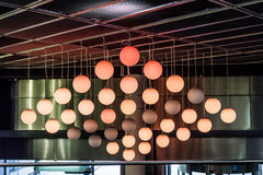 Round lamps balls on the ceiling Royalty Free Stock Photos