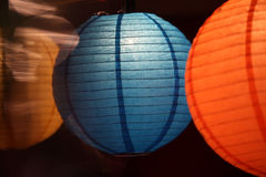 Round Lanterns. Round colorful lanterns lit up on the occasion of Diwali  festival in India Royalty Free Stock Photography