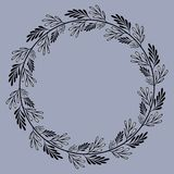 Round leaf frame with black and white doodle branches. Wreath for your design with place for your text.Decoration for greeting card,wedding invitation,save the vector illustration