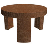 Round Leather Table Stock Photo