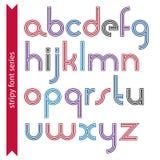 Round lekcy lowercase listy z potrójnymi liniami, wektorowy colorfu ilustracja wektor