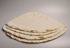 Round light ready-made pita breads Royalty Free Stock Images