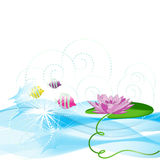 Round a lily flower small fishes swim Royalty Free Stock Images