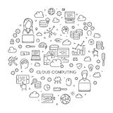 Round line concept of cloud computing. Modern linear web banner for cloud technology Royalty Free Stock Photo