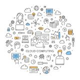 Round line concept of cloud computing. Modern linear web banner for cloud technology Stock Images