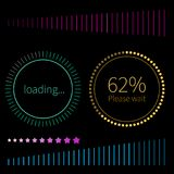Round and line progress bars loading. Green and gold round progress bars. Vector abstract symbol for webpage design. Loading bars and spinner with text - Loading Stock Image