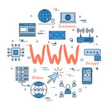 Round linear banner - WWW internet. Vector linear blue round concept of WWW internet. Thin line icons of world wide internet connection. Modern web banner on Stock Images