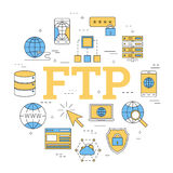 Round linear concept of FTP Royalty Free Stock Images