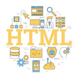 Round linear concept of HTML. Vector linear round concept of Hyper Text Markup Language - HTML. Isolated illustration with outline icons in blue and yellow Royalty Free Stock Image