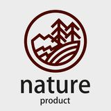 Round linear logo. Firs, mountains, river. Logo. Stylized trees, mountains and river in a circle. Wild forests, Siberia, Alaska. Vector graphics. Line drawing Royalty Free Stock Photo