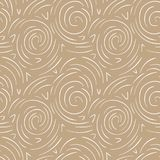 Round lines abstract vector seamless pattern. Modern gold and white background stock illustration