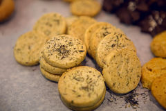 Round little cookies with chocolate Royalty Free Stock Photography