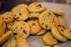 Round little cookies with chocolate Royalty Free Stock Photo