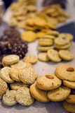 Round little cookies with chocolate Stock Images