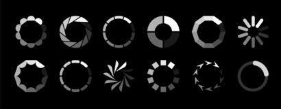Round loader. Progressive internet buffering upload loading website interface sign vector isolated icon set on black royalty free illustration
