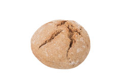 Round loaf of black bread with cracks isolated on white backgrou Stock Image