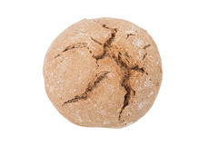 Round loaf of black bread with cracks isolated on white backgrou Stock Images