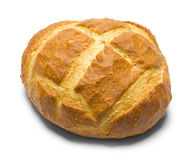 Round Loaf of Bread. Round Artisian Bread Loaf on White Background stock photo