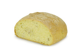 Round Loaf of bread Ciabatta Sliced isolated on white background Royalty Free Stock Photography