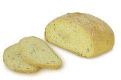 Round Loaf of bread Ciabatta Sliced isolated on white background Stock Images