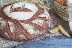 Round Loaf of Home made Bread made from rye, whole wheat flour a Royalty Free Stock Photo