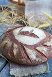 Round Loaf of Home made Bread made from rye, whole wheat flour a Royalty Free Stock Photography