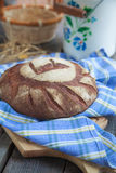 Round Loaf of Home made Bread made from rye, whole wheat flour a Royalty Free Stock Photos