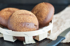 Round loaf of homemade brown wheat bread Stock Photo