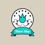 Round logo of flower shop Royalty Free Stock Photography