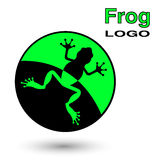Round logo with a frog. Royalty Free Stock Image