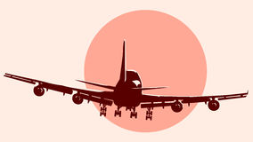 Round logo illustration of flying airplane. Stock Photo