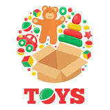 Round logo with open brown box teddy bear and toys Royalty Free Stock Photography