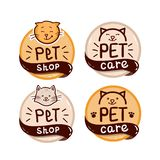 Round logo set with cat and text pet shop royalty free stock photo