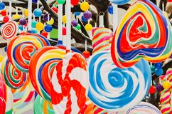 Round lollipops in candy shop. Sweets background royalty free stock photo