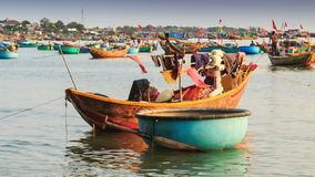 Round and Long Fishing Boats Float in Sea Bay in Vietnam stock footage