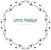 Round loving design, Lorem Ipsum background. Painting blue snowflakes, black loving birds on branches, hearts on white. Stock vector illustration for wedding Stock Photography