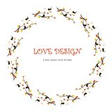 Round loving design, Lorem Ipsum background. Painting orange and yellow leafs, black loving birds on branches, hearts on white. Stock vector illustration for royalty free illustration